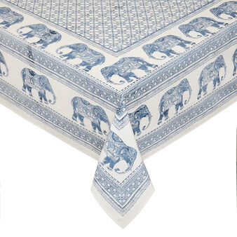100% cotton tablecloth with placed elephant print