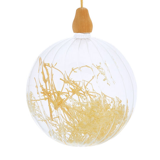 Hand-decorated bauble with dried flowers