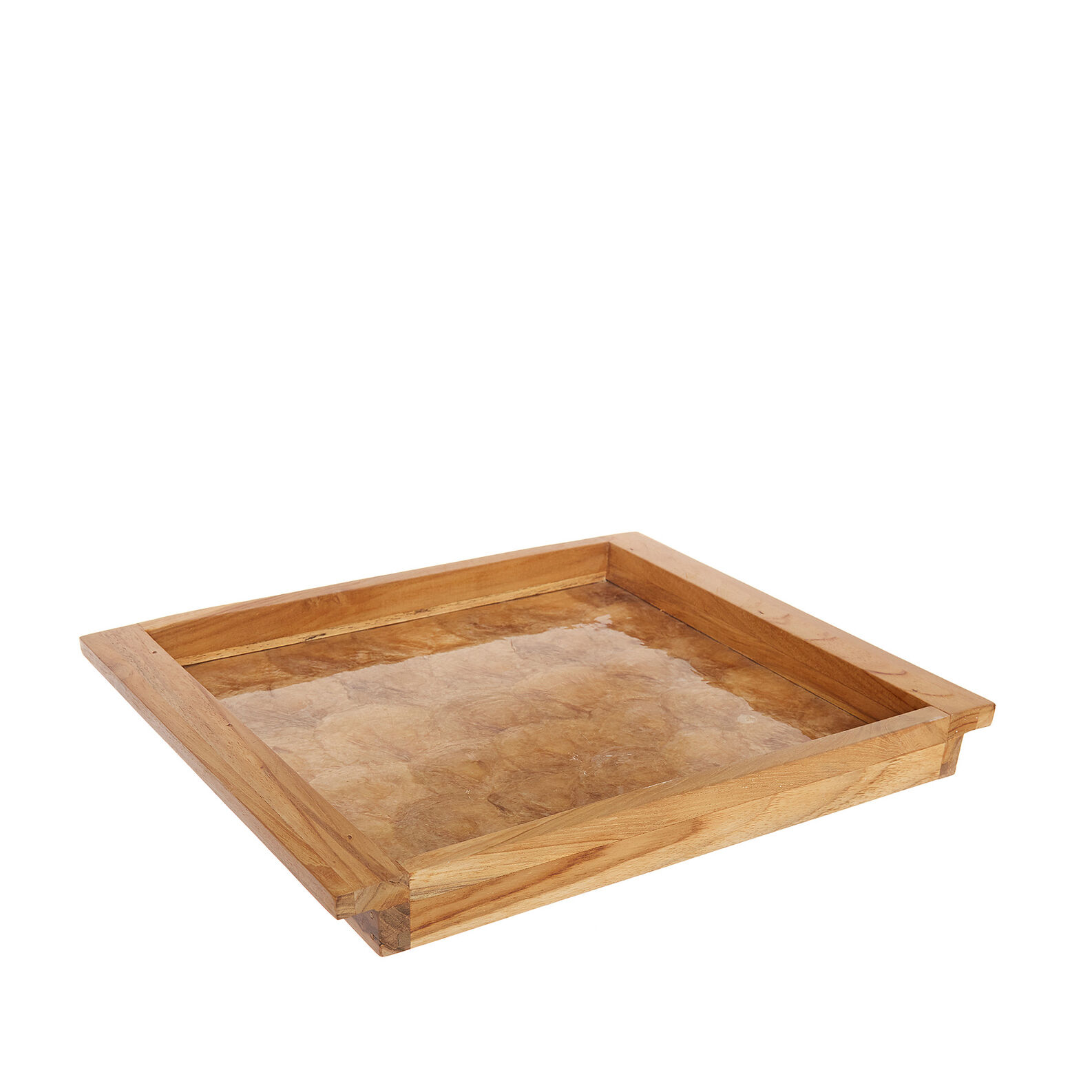 Handmade decorative wood and capiz tray