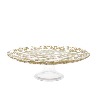 Glass cake stand with Arabesque decoration
