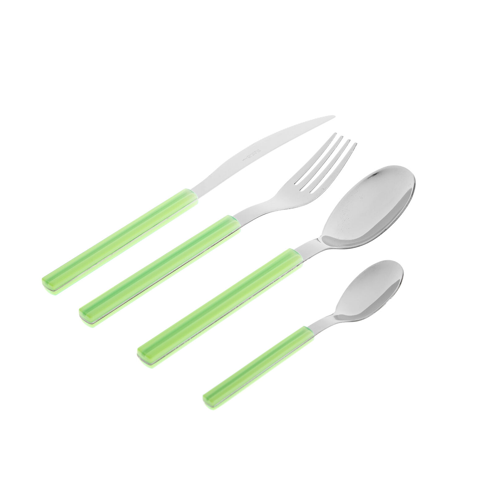 24-piece cutlery set in steel and plastic