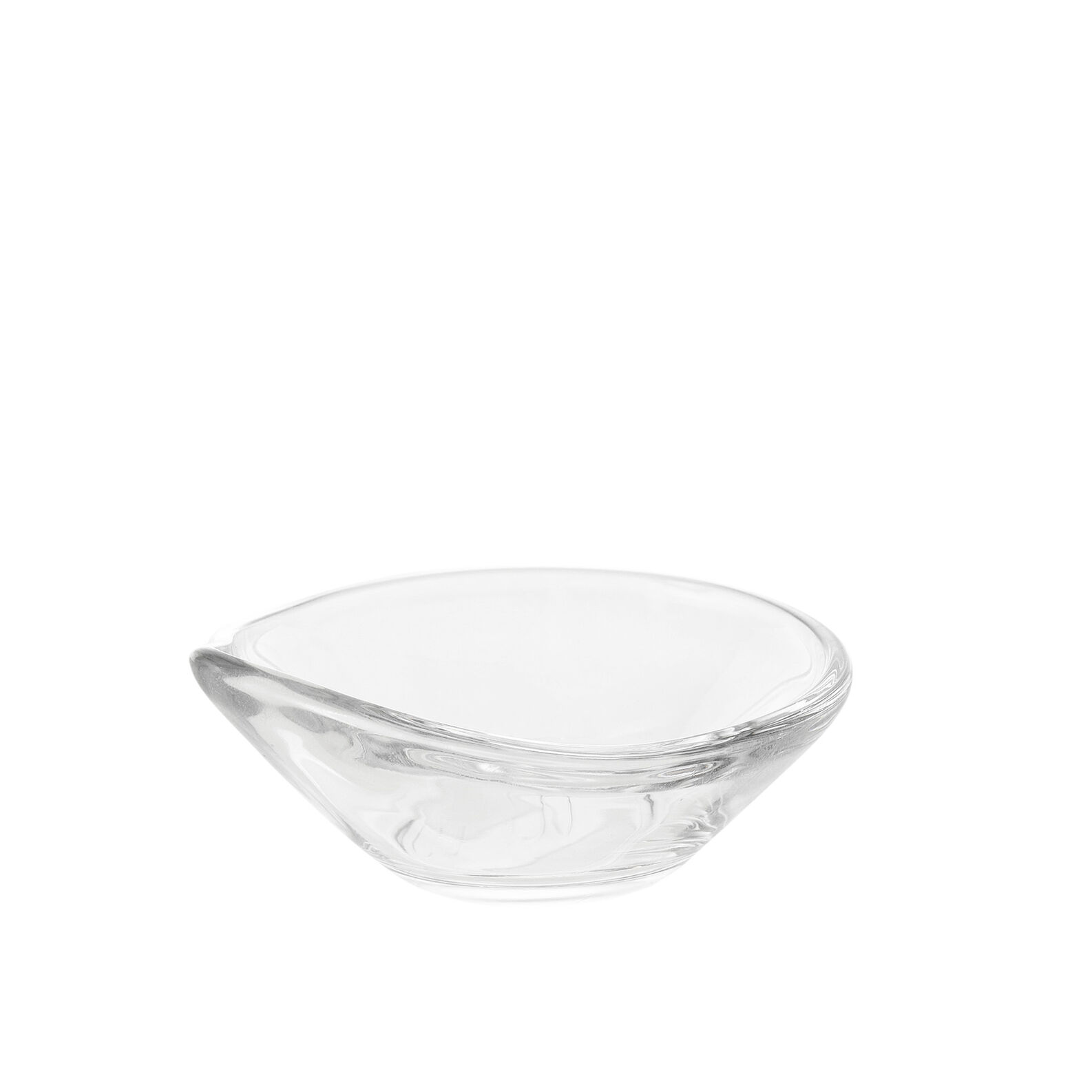 Glass dessert bowl with oblong side