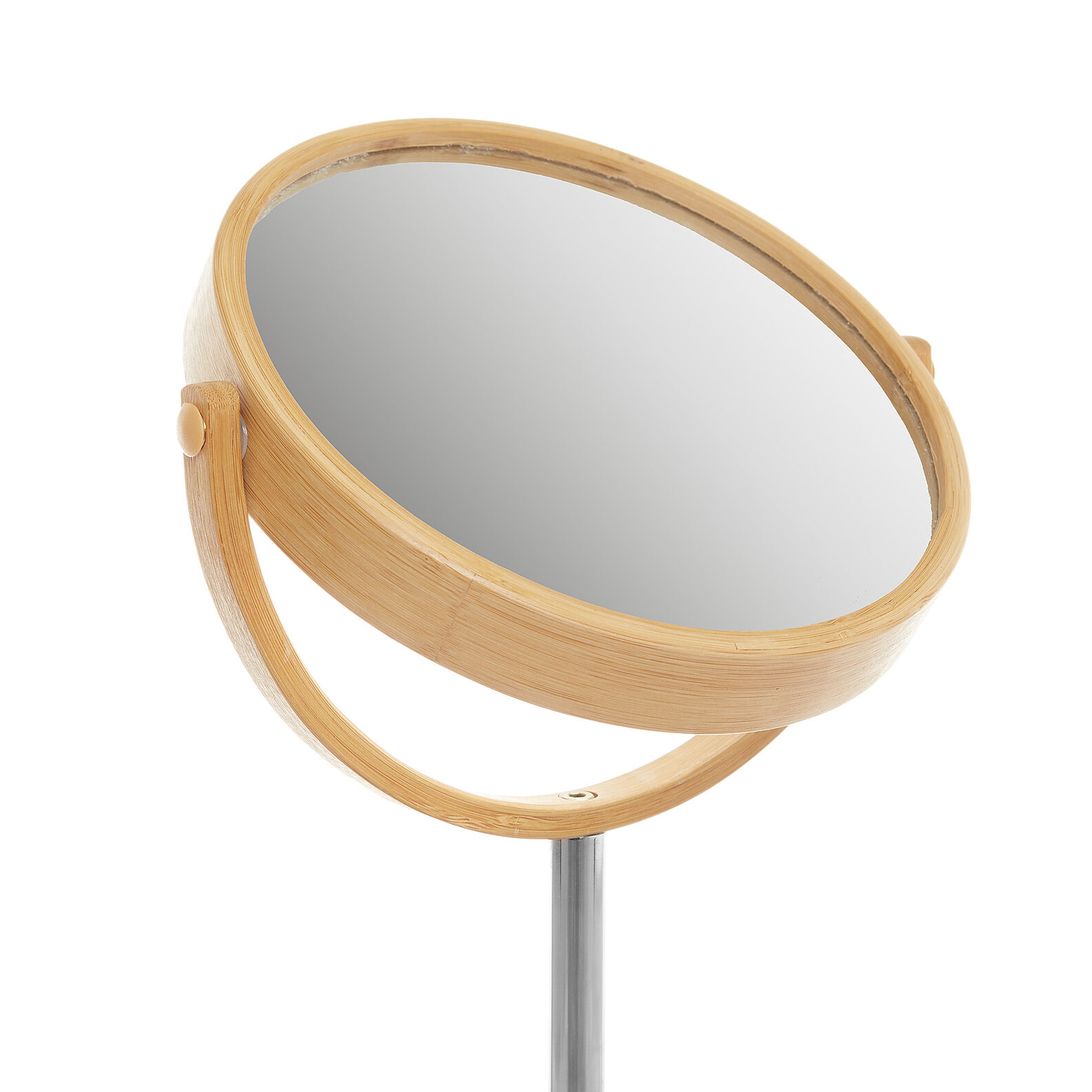Mirror with base in bamboo and fabric