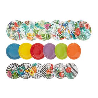 Set 18 piatti porcellana decoro tropicale