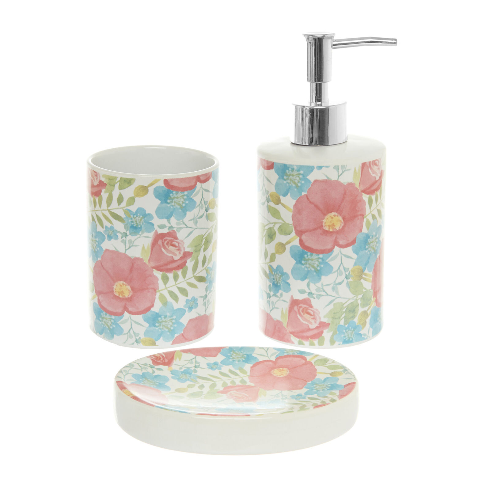 Set of 3 ceramic bathroom accessories with flowers motif