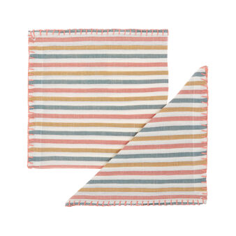 2-pack striped napkins in linen blend
