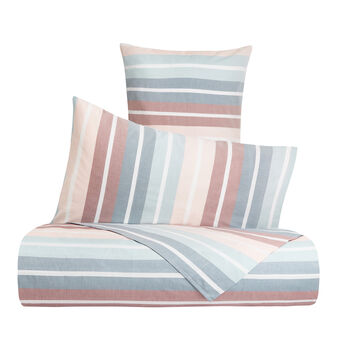 Yarn-dyed cotton duvet cover set with striped pattern