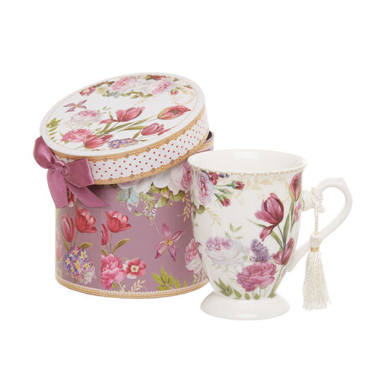 Mug in new bone China with flowers decoration