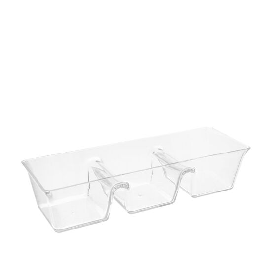MS plastic appetiser dish with 3 compartments