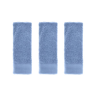 Set of 3 100% cotton face cloths with striped edging