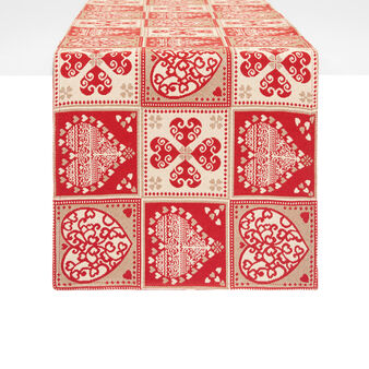 Gobelin table runner with four-leaf clover motif