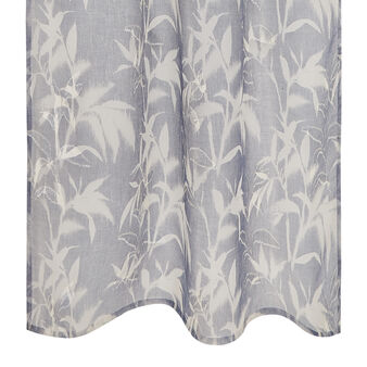Viscose blend curtain with leaf design and concealed loops
