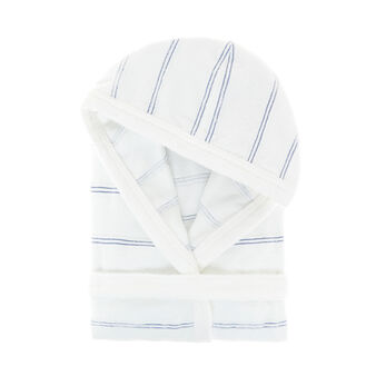 Striped cotton terry bathrobe