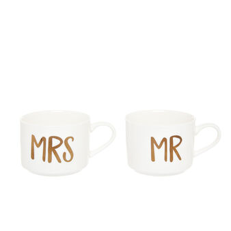 Set of 2 Mr&Mrs mugs in new bone China