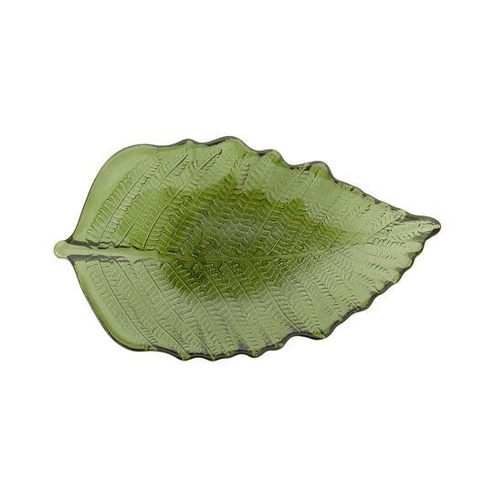 Leaf-shaped glass plate