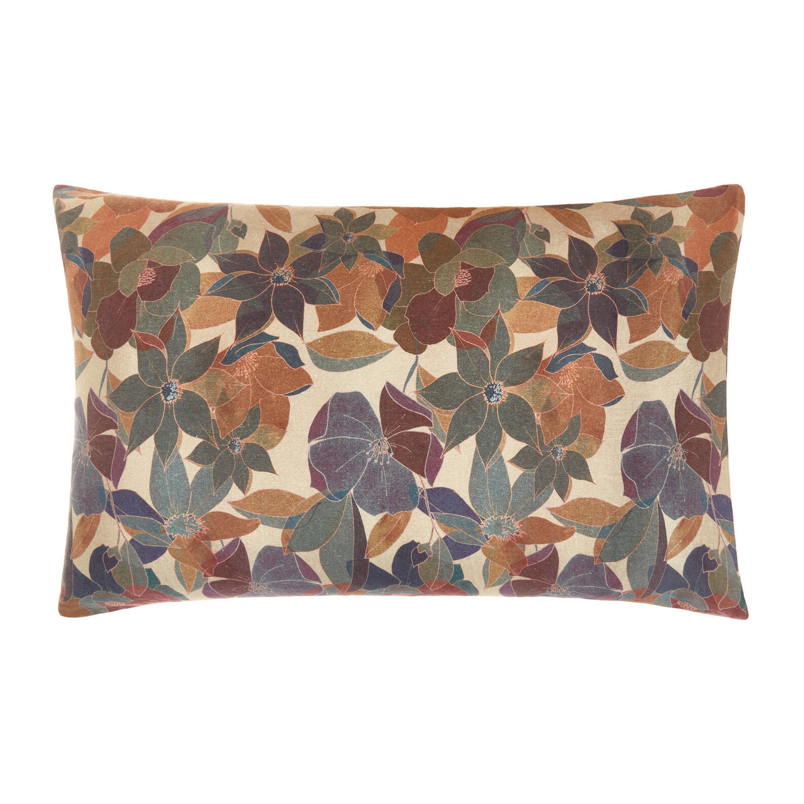 Pillowcase in washed 100% linen with floral pattern