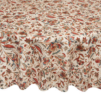 Round 100% cotton tablecloth with vintage print