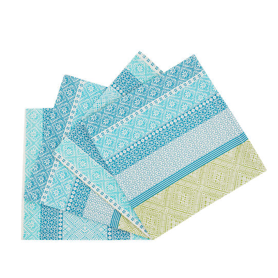 Set of 4 striped pure cotton napkins