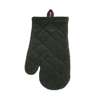 Solid colour oven mitt in cotton corduroy