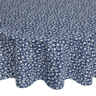 Round tablecloth in 100% cotton with small flowers print