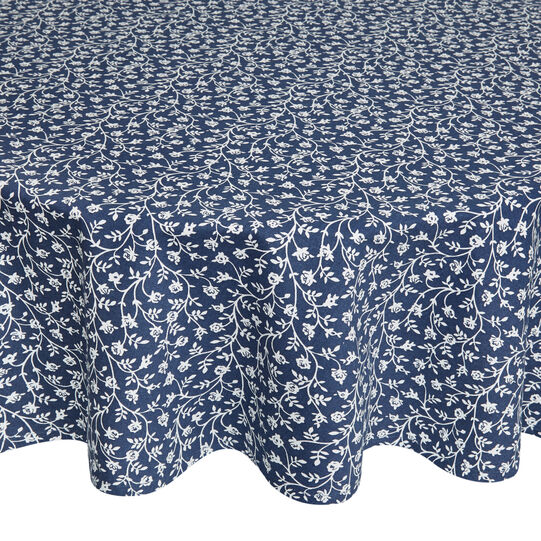 Tovaglia rotonda idrorepellente puro cotone stampa fiorellini