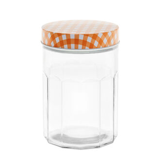 Check glass container with metal lid