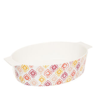 Oven dish in new bone China with geometric design