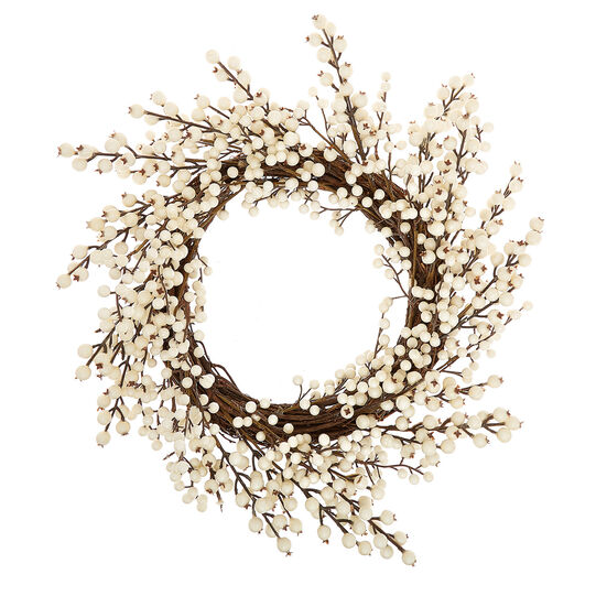 Decorative wreath with white berries