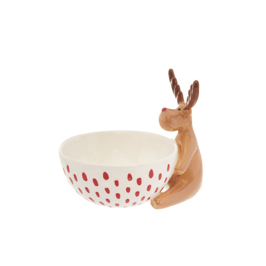 Small ceramic bowl with moose