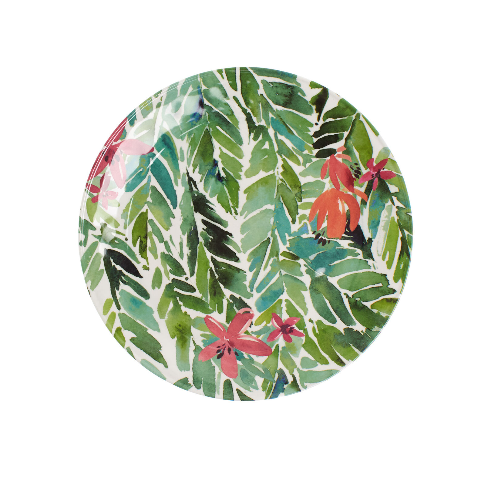 Melamine dinner plate with leaves