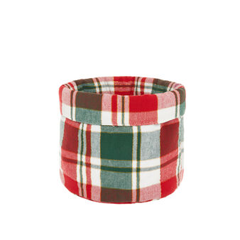 Basket in tartan cotton twill and lurex threads