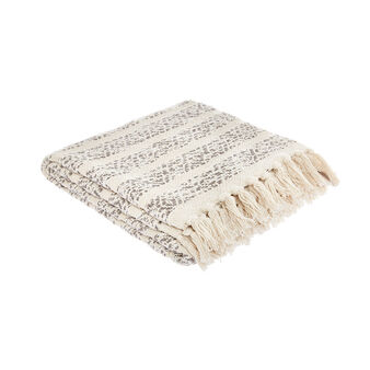 Ethnic patterned throw with fringing