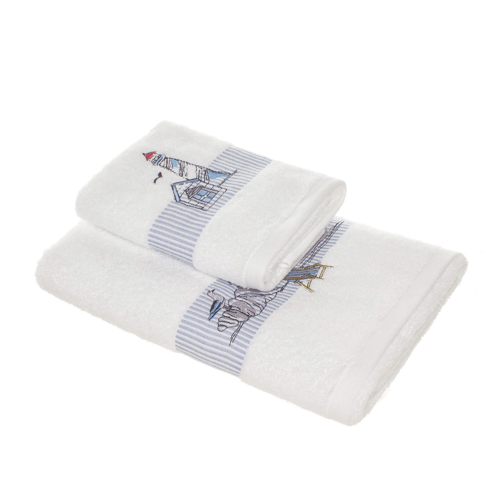 100% cotton towel with navy embroidery