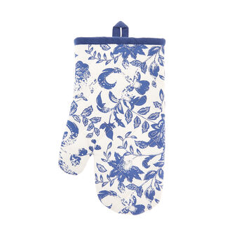 Oven mitt in 100% cotton with floral print