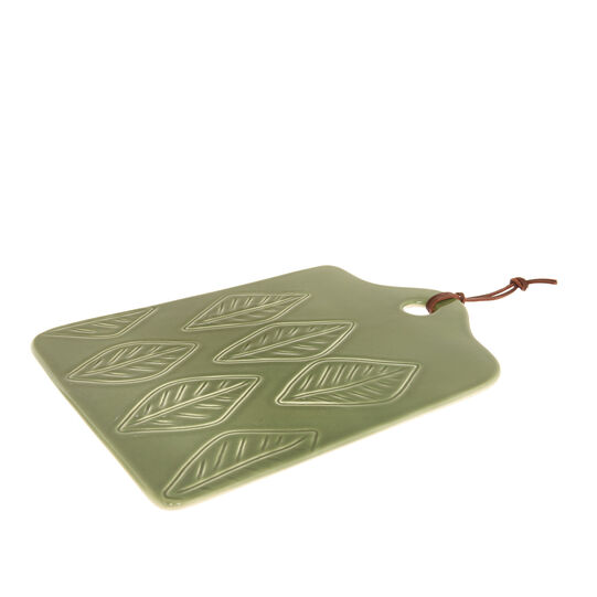 Ceramic chopping board with leaf motif