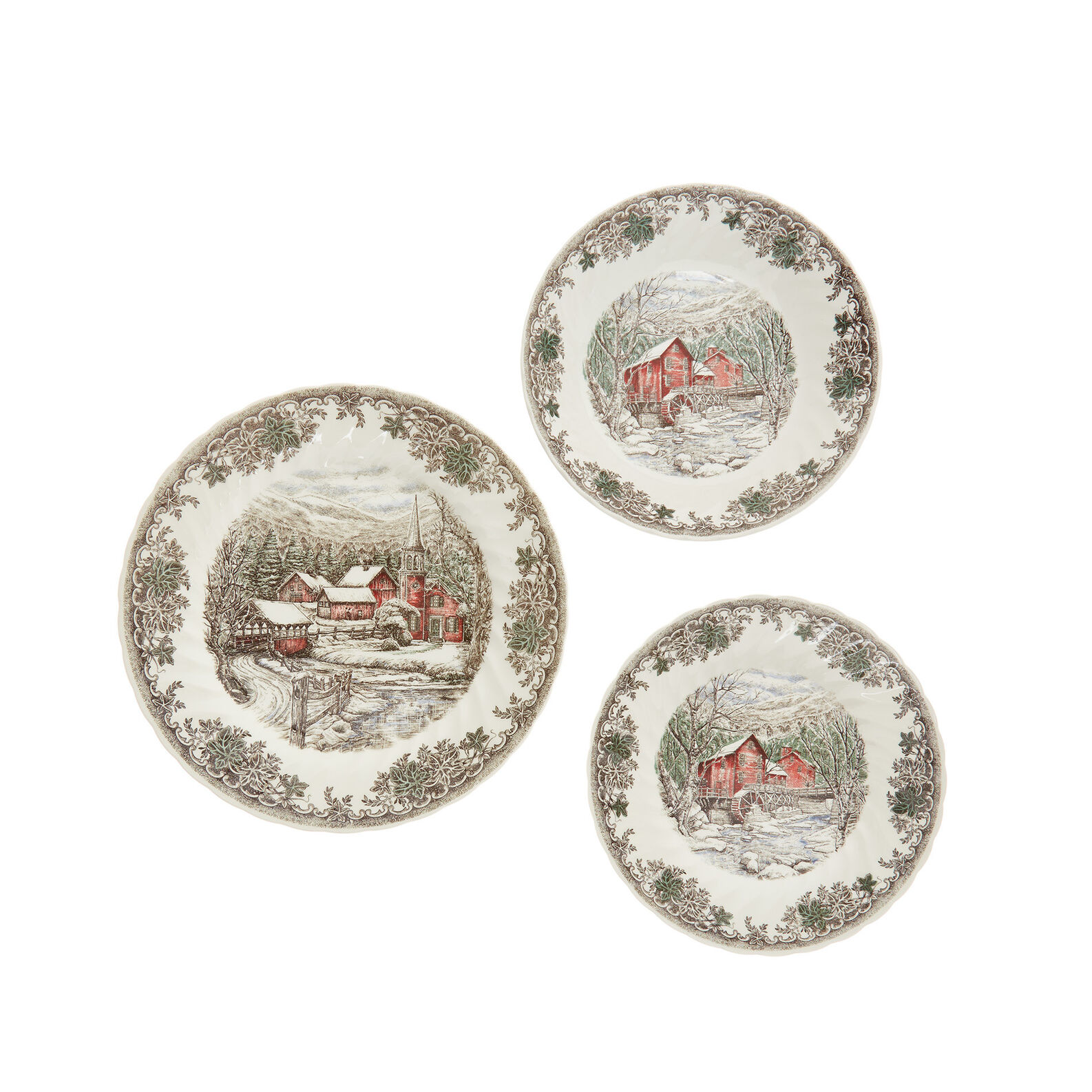Churchill set of 18 ceramic plates with country village motif