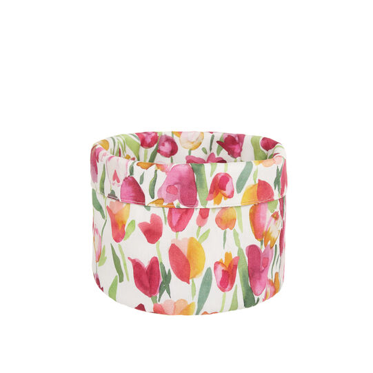 100% cotton basket with tulips print