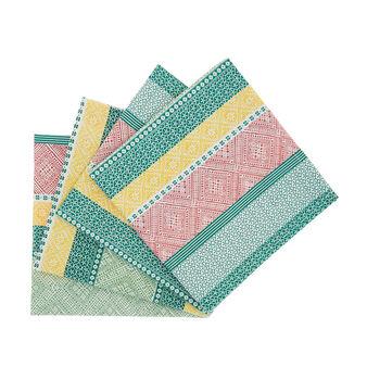 Set 4 tovaglioli puro cotone stampa multi righe