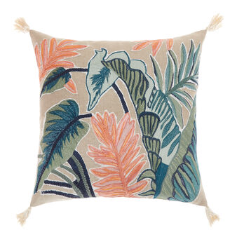 Cotton cushion with foliage embroidery 45x45cm