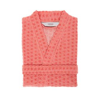 Cotton blend kimono-style bathrobe with starfish pattern