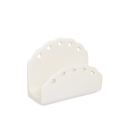 Ceramic towel holder with openwork hearts