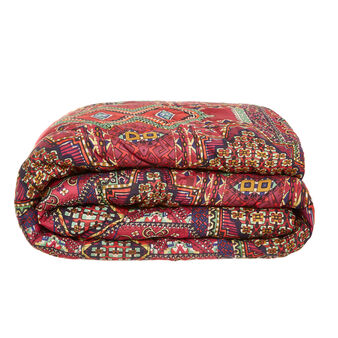 Cotton satin quilted bedspread with Mexican pattern