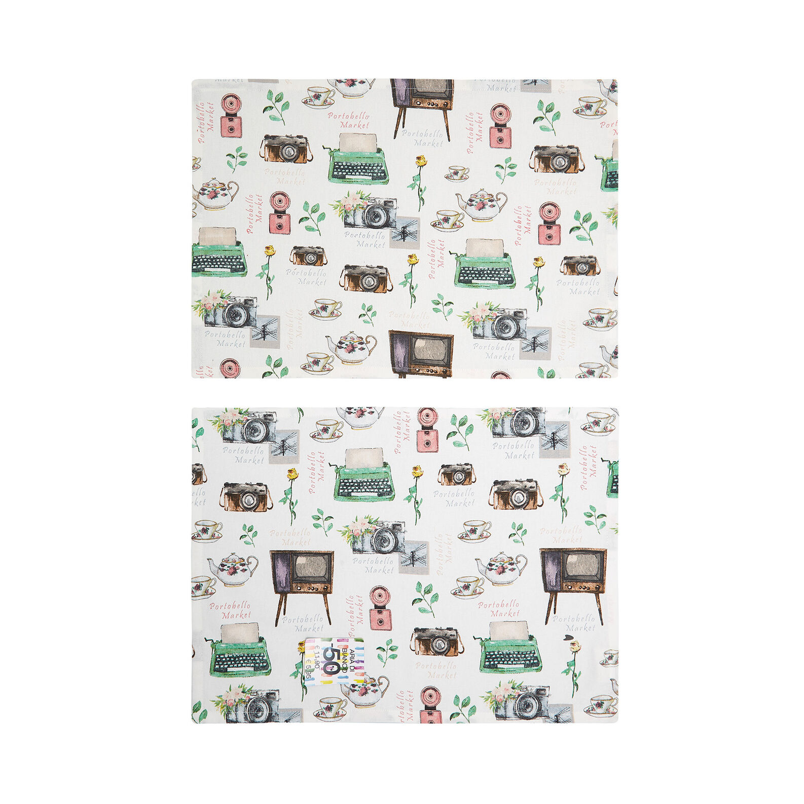 Set of 2 table mats in 100% cotton with Portobello print
