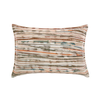 Peach fuzz-effect cushion with striped design 35x55cm