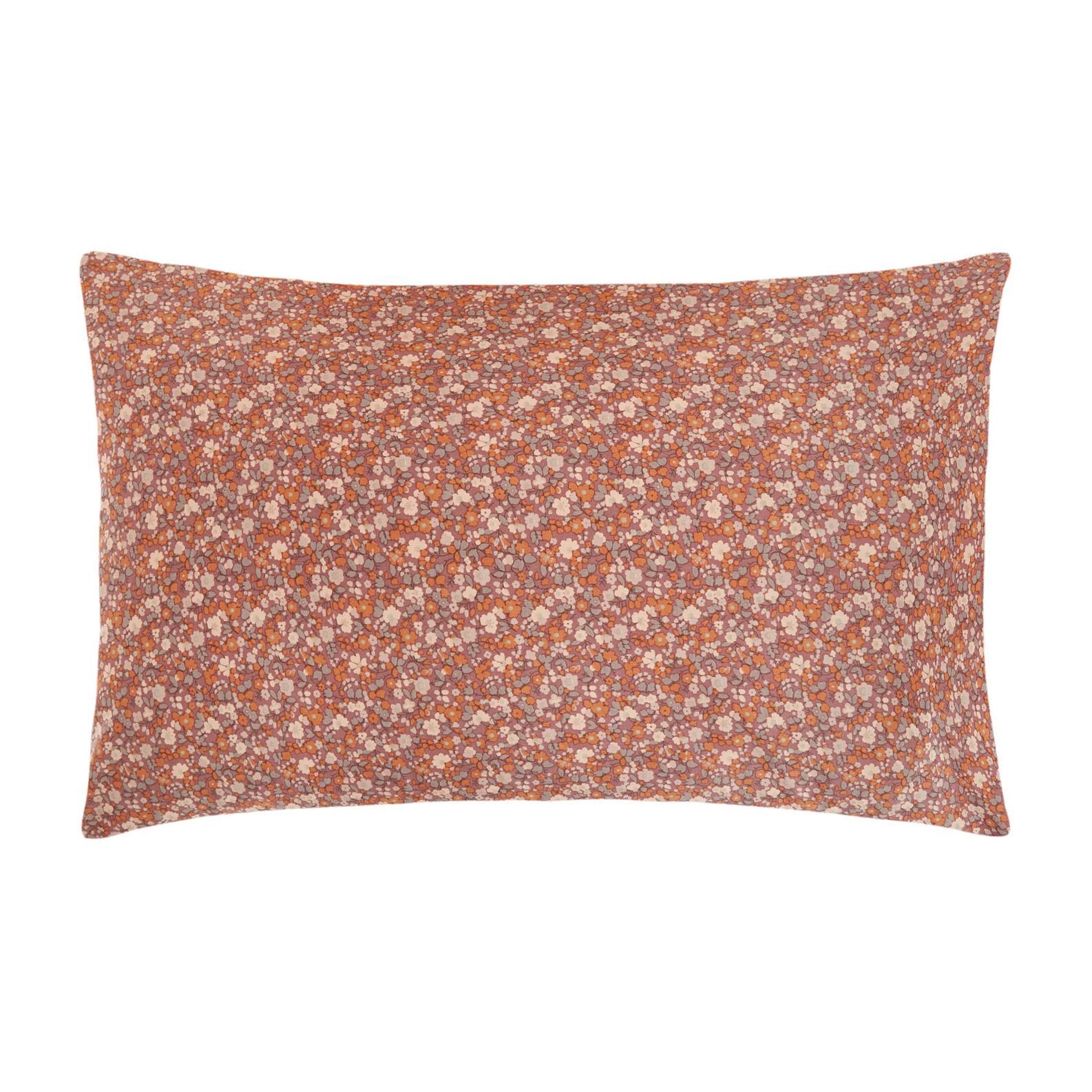 Cotton percale pillowcase with micro floral pattern