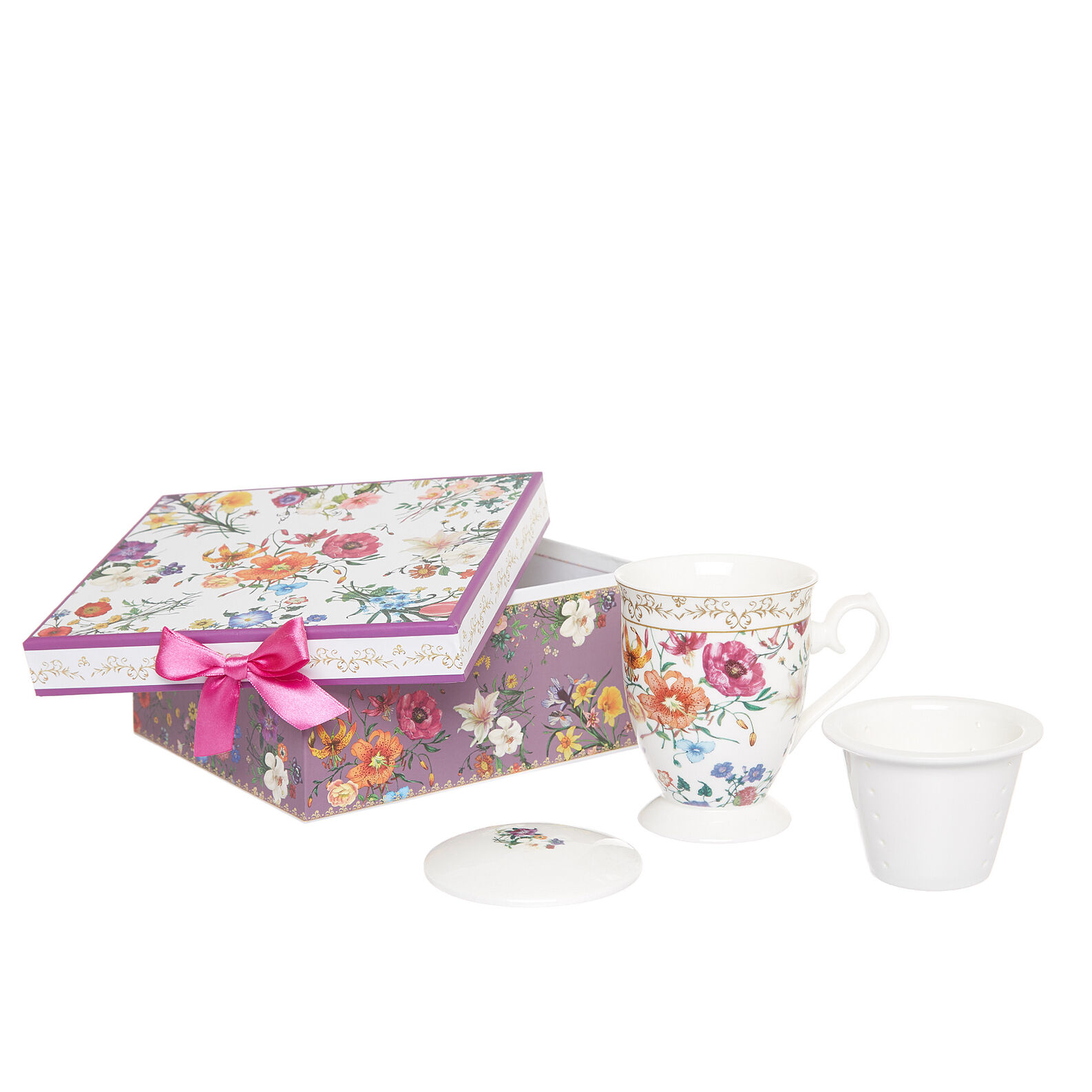 Gift infuser cup with flowers decoration
