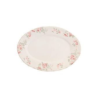 Floral ceramic oval plate