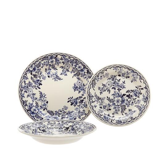 Set of 18 Blue Flower ceramic plates
