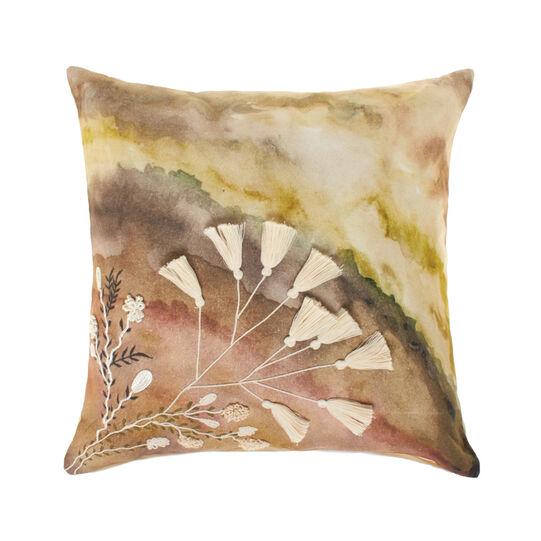 Cuscino cotone ricami e nappine