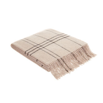 Plaid wool blend with fringes